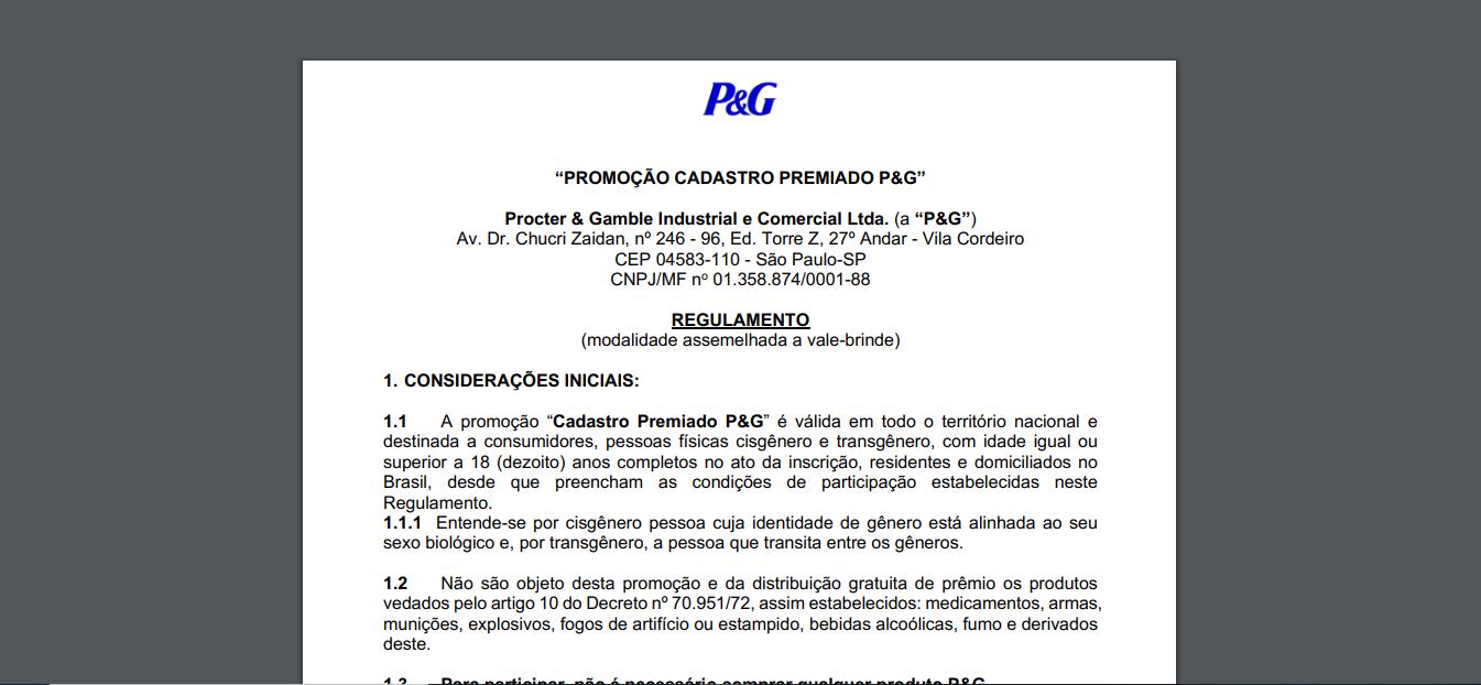 Regulamentopromoção Descubra P&G