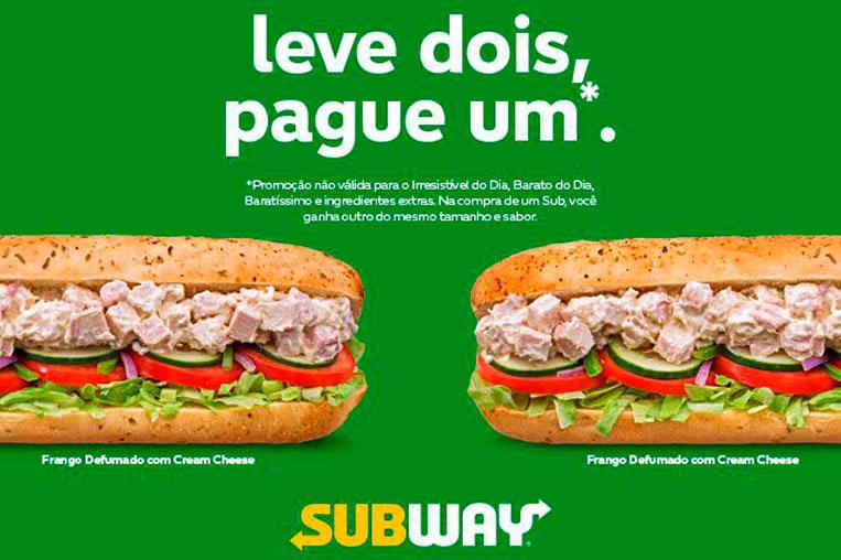 Promoção Subway 2020 - compre um ganhe outro